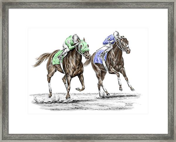 The Stretch - Tb Horse Racing Print Color Tinted Framed Print