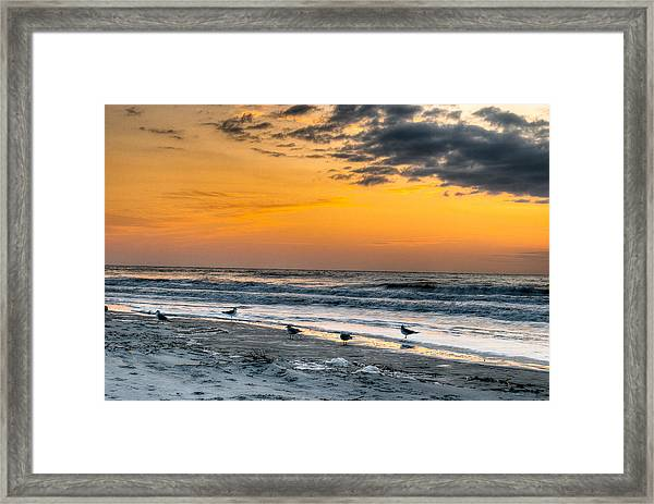 The Wintery Feeling Beach At Sunrise Framed Print
