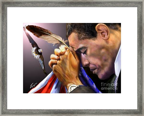 They Shall Mount Up With Wings Like Eagles -  President Obama  Framed Print
