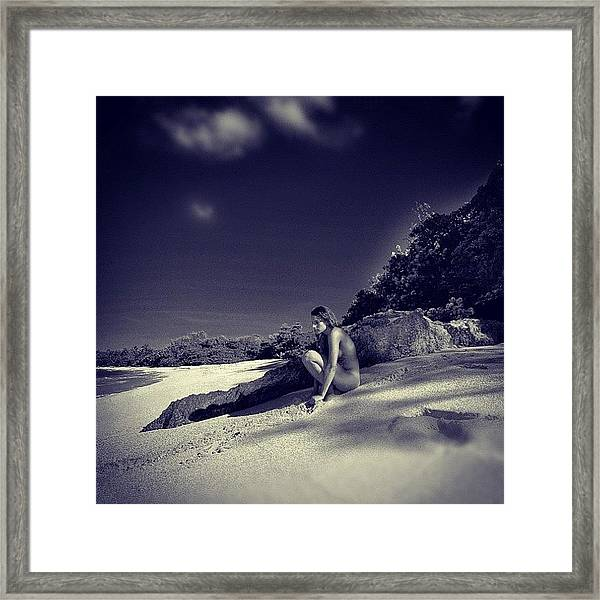Thinking Nude On The Beatch Framed Print