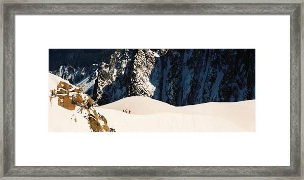 Three Skiers At Chamonix Framed Print