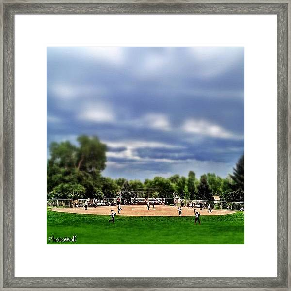 Tiny Village Softball Game Framed Print