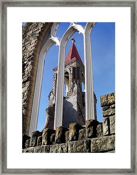 Tower Through The Window Framed Print