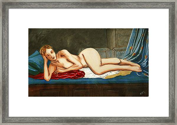 Traditional Modern Female Nude Reclining Odalisque After Ingres Framed Print
