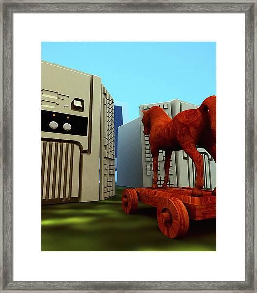 Trojan Horse, Computer Artwork Framed Print