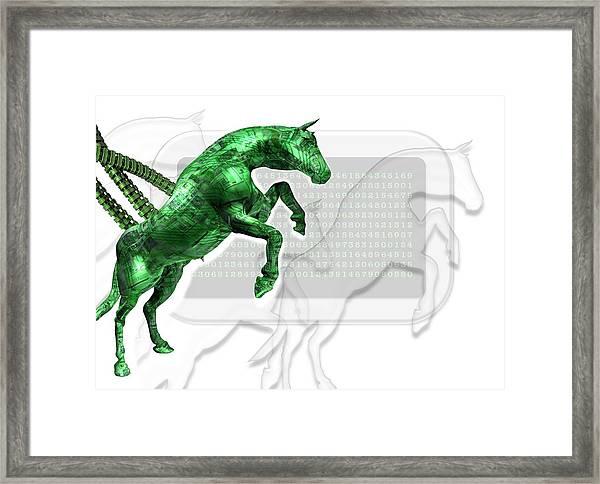 Trojan Horse, Conceptual Artwork Framed Print