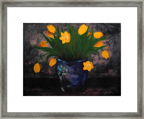 Tulips In Blue Framed Print