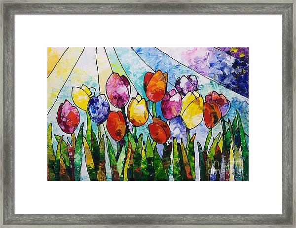 Tulips On Parade Framed Print