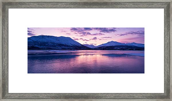 Twilight Above A Fjord In Norway With Beautifully Colors Framed Print