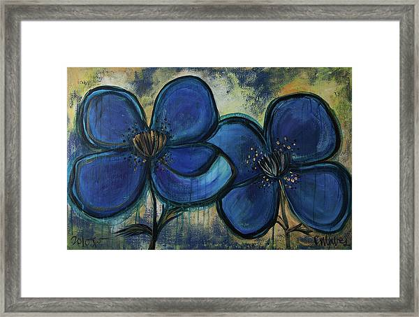 Framed Print featuring the painting Two Blue Poppies by Laurie Maves ART