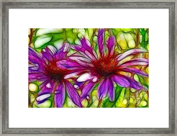Two Purple Daisy's Fractal Framed Print