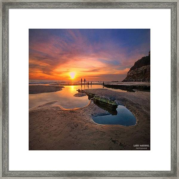 Ultra Low Tide Sunset At A North San Framed Print by Larry Marshall