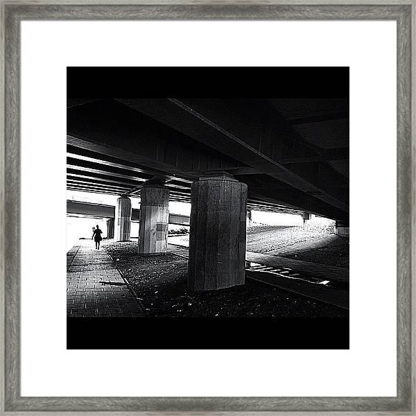 Under The Bridge#bw# #walk #light Framed Print