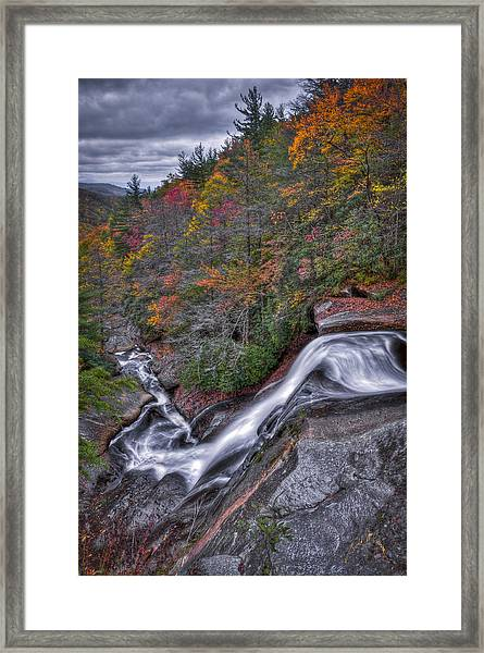 Framed Print featuring the photograph Upper Creek Falls by Williams-Cairns Photography LLC