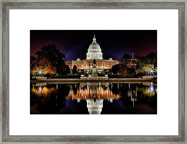 Us Capitol Building And Reflecting Pool At Fall Night 2 Framed Print