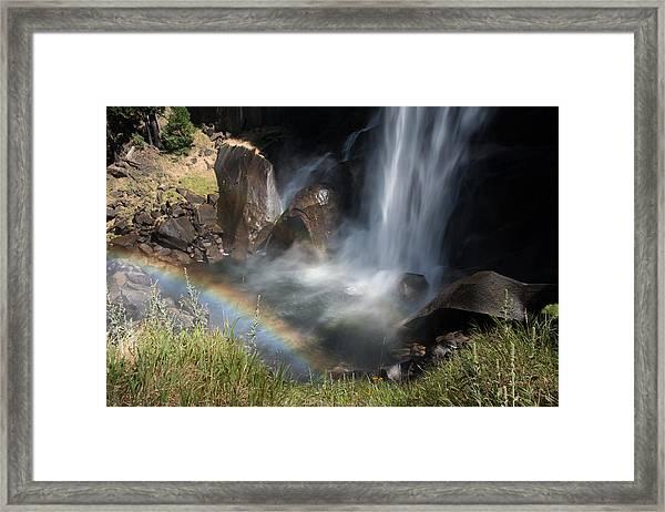 Vernal Falls Rainbow On Mist Trail Yosemite Np Framed Print