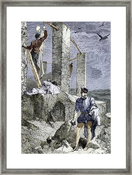 Vesalius Stealing A Skeleton, Artwork Framed Print by Sheila Terry
