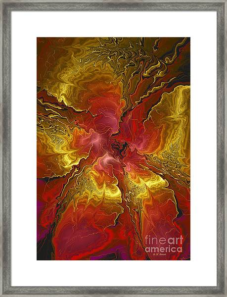Vibrant Red And Gold Framed Print