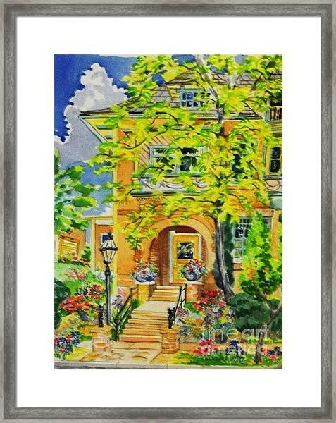 Victorian Sandstone Mansion Denver Colorado Framed Print by Annie Gibbons
