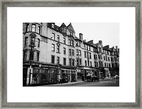 Victorian Tenement Buildings At The End Of High Street Glasgow Scotland Uk Framed Print