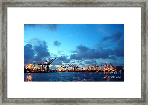 View Of Kaohsiung Harbor At Dusk Framed Print