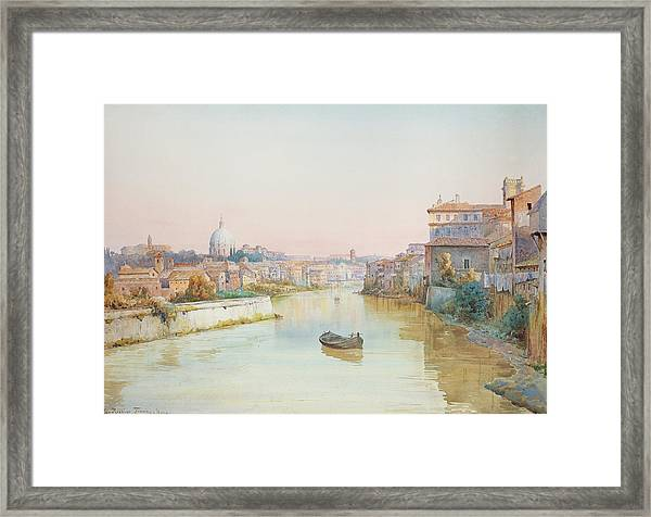 View Of The Tevere From The Ponte Sisto  Framed Print