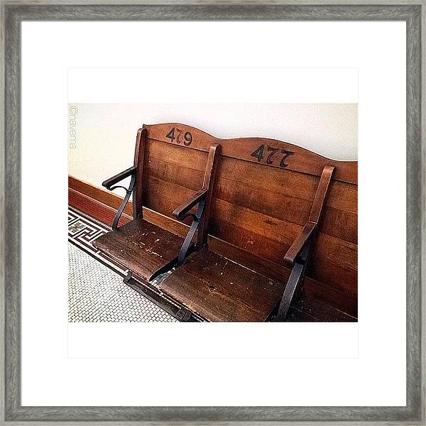 Vintage Courthouse Seats Framed Print