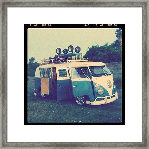 #vw #vintage #safari #lowered #bus Framed Print