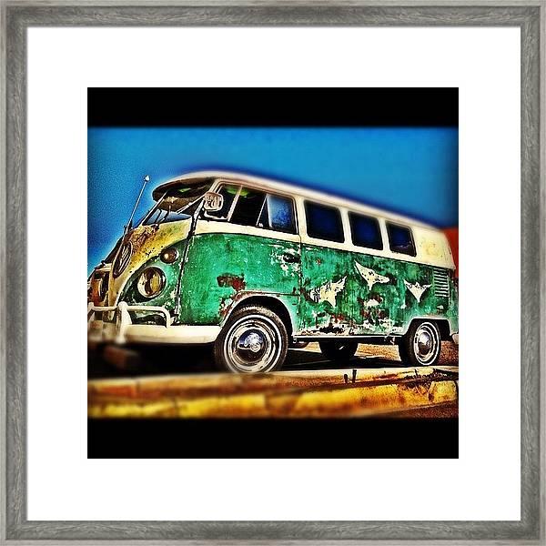 #vw #volkswagon #bus #patina #vintage Framed Print