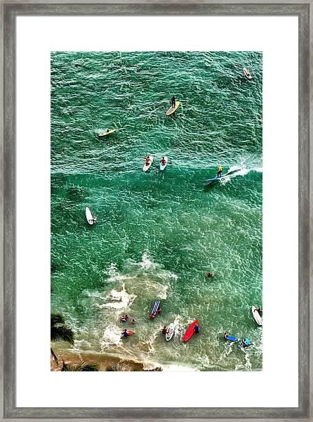 Waikiki Surfing Framed Print