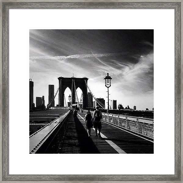 Walking Over The Brooklyn Bridge - New York City Framed Print