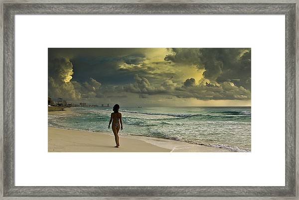 Walking The Beach Framed Print