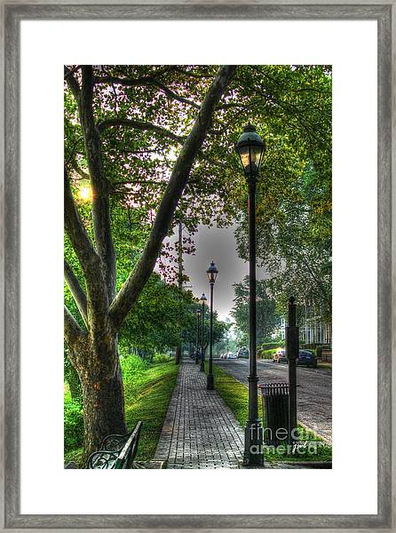 Walkway Down Riverside Drive Framed Print