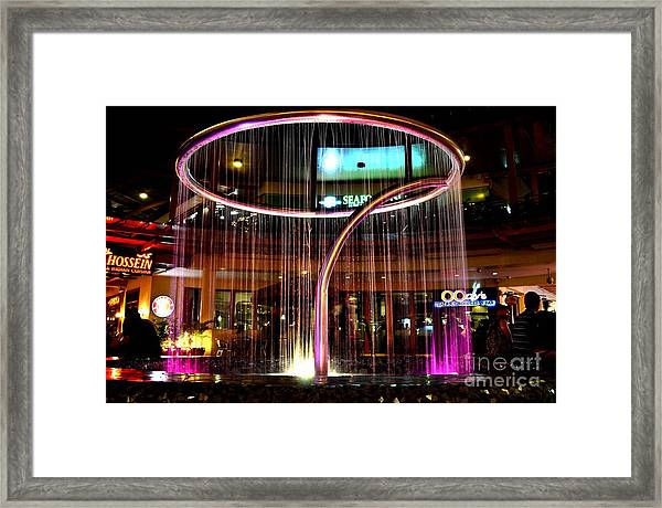 Water Fountain With Circle Seven Shape Framed Print