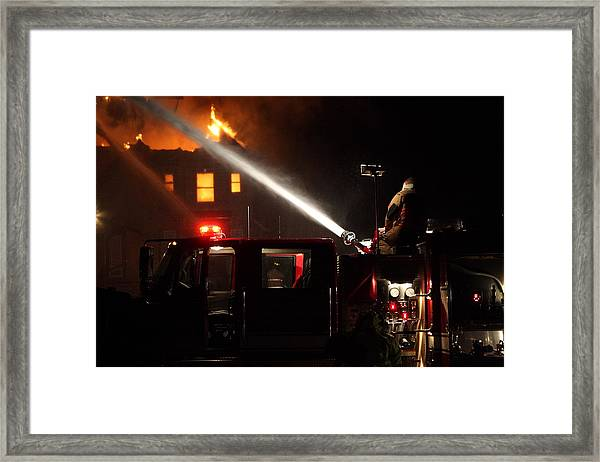 Water On The Fire From Pumper Truck Framed Print