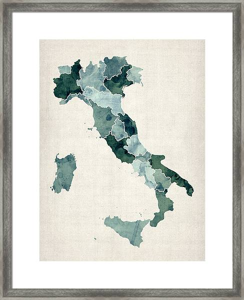 Watercolor Map Of Italy Framed Print