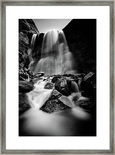 Waterfall Down The Mountains Framed Print by © Francois Marclay