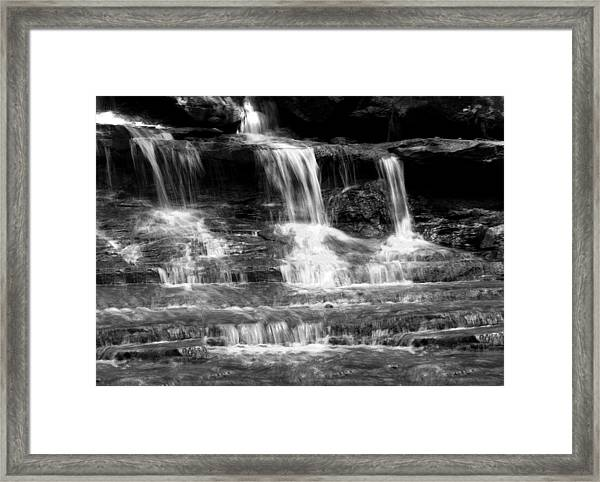Waterfall Trio At Mcconnells Mill State Park In Black And White Framed Print