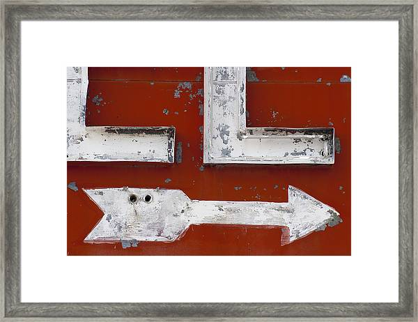 White Arrow On Motel Sign Framed Print