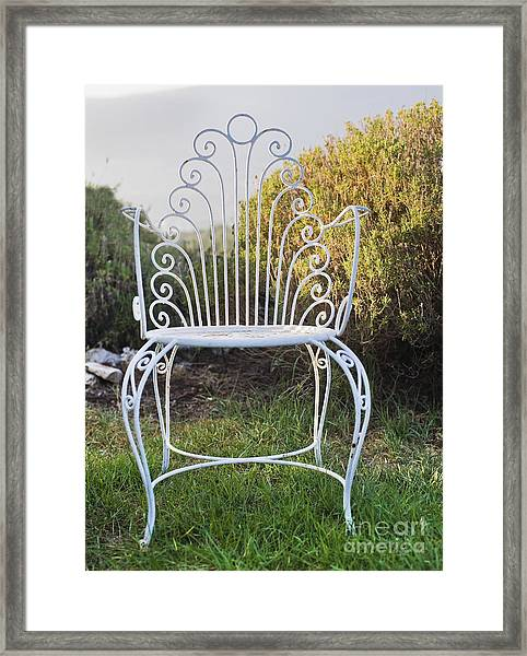 White Metal Garden Chair Framed Print by Noam Armonn