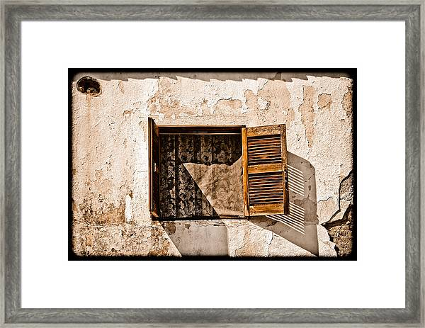 Hanioti, Greece - Window And Lace Framed Print
