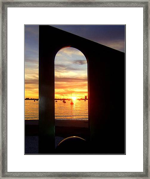 Window To The Bay Framed Print by Satya Winkelman