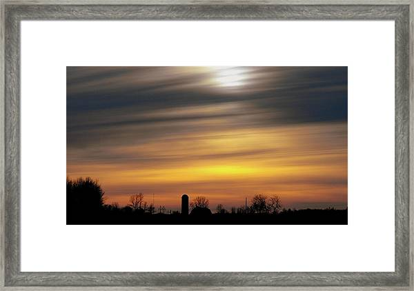 Winter Farm Sunset Framed Print