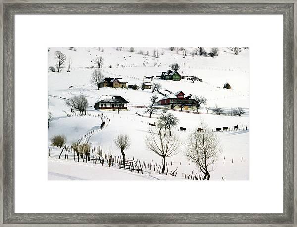 Winter In The Village Framed Print