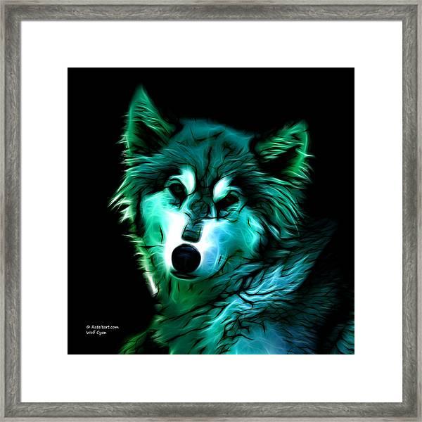 Wolf - Cyan Framed Print