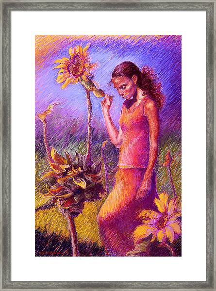 Woman Among The Sunflowers Framed Print
