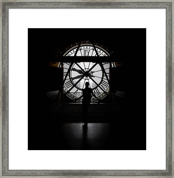 Woman Behind Time Framed Print