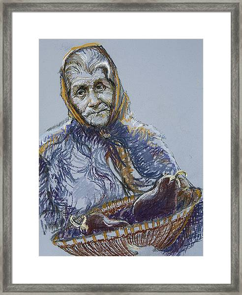 Woman With A Basket Of Eggplant Framed Print