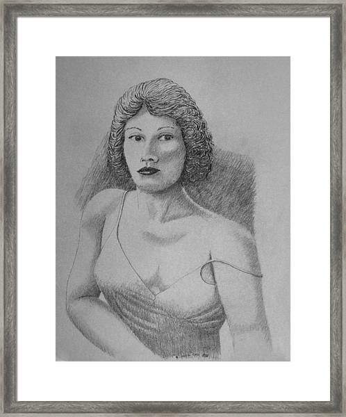 Woman With Strap Off Shoulder Framed Print