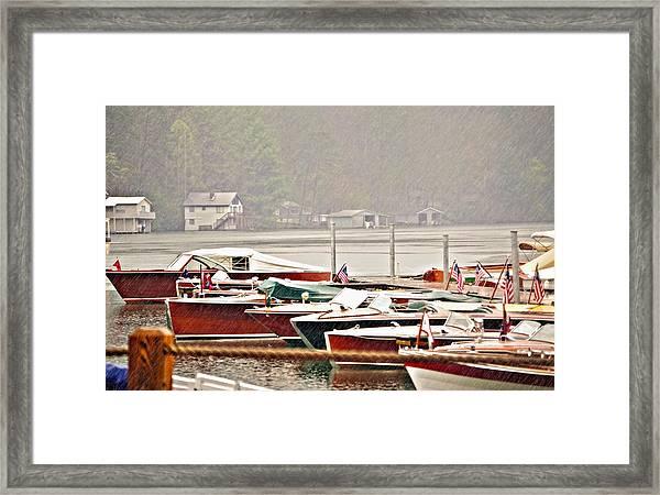 Wood Boats In The Rain Framed Print